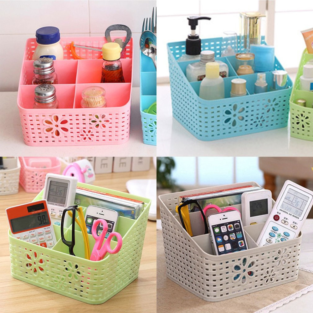 New Style 5 Grid Desktop Organizer Storage Box Cosmetic Makeup Organizer Baskets Remote Control Holder 4 Colors Drop shipping