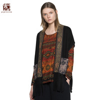 Jiqiuguer Women Raglan Sleeve Vintage Black Tassel Open Stitch Patch Designs Autumn Pockets Plus Embroidery Retro Vest G173Y007