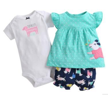 3PCS SET Newborn infant baby girl clothing2018 Summer Cotton Quality baby girls Tops vest +bodysuit+shorts bebe girl's outfits