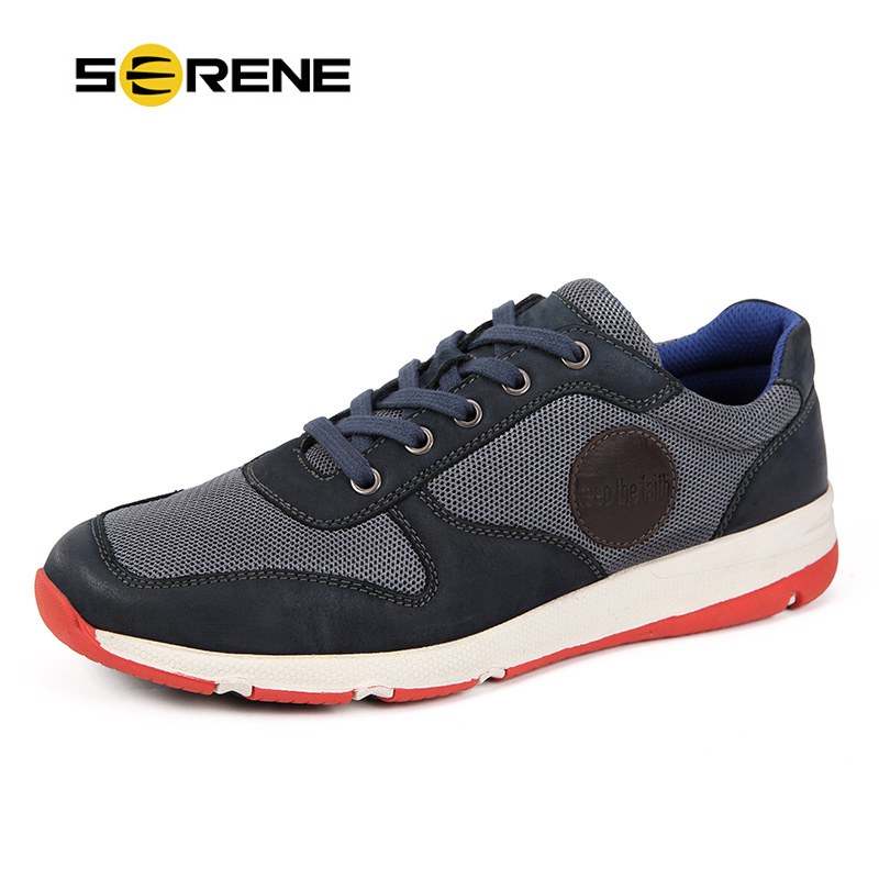 цены  SERENE Brand New Arrival 2017 Flat-With  Casual Men Shoes  Breathable Air Mesh Lace-up  Autumn & Spring With Free Shipping 9170