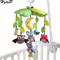 HziriP Musical Bed Bell Infant Toys Fabric Cartoon Animal Plush Hanging Ring Soft Baby Doll Separates Rattles Children's Toys