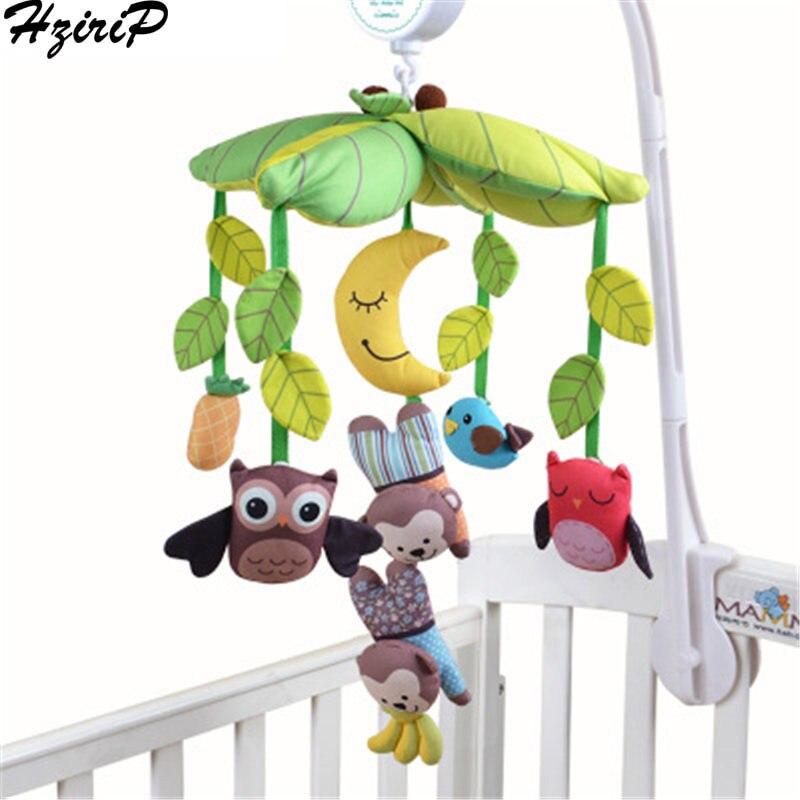 HziriP lit Musical cloche infantile jouets tissu dessin animé Animal en peluche anneau suspendu doux bébé poupée sépare hochets jouets pour enfants