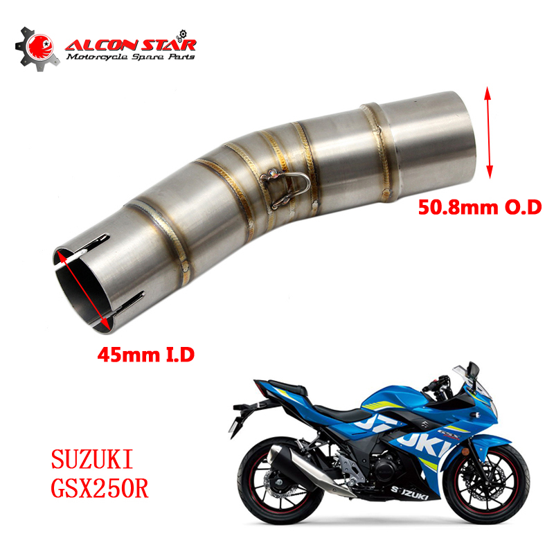 Alconstar-<font><b>GSX250R</b></font> Motorcycle Motocross <font><b>Exhaust</b></font> Muffler Middle Pipe With Clamp For <font><b>Suzuki</b></font> <font><b>GSX250R</b></font> without <font><b>exhaust</b></font> image