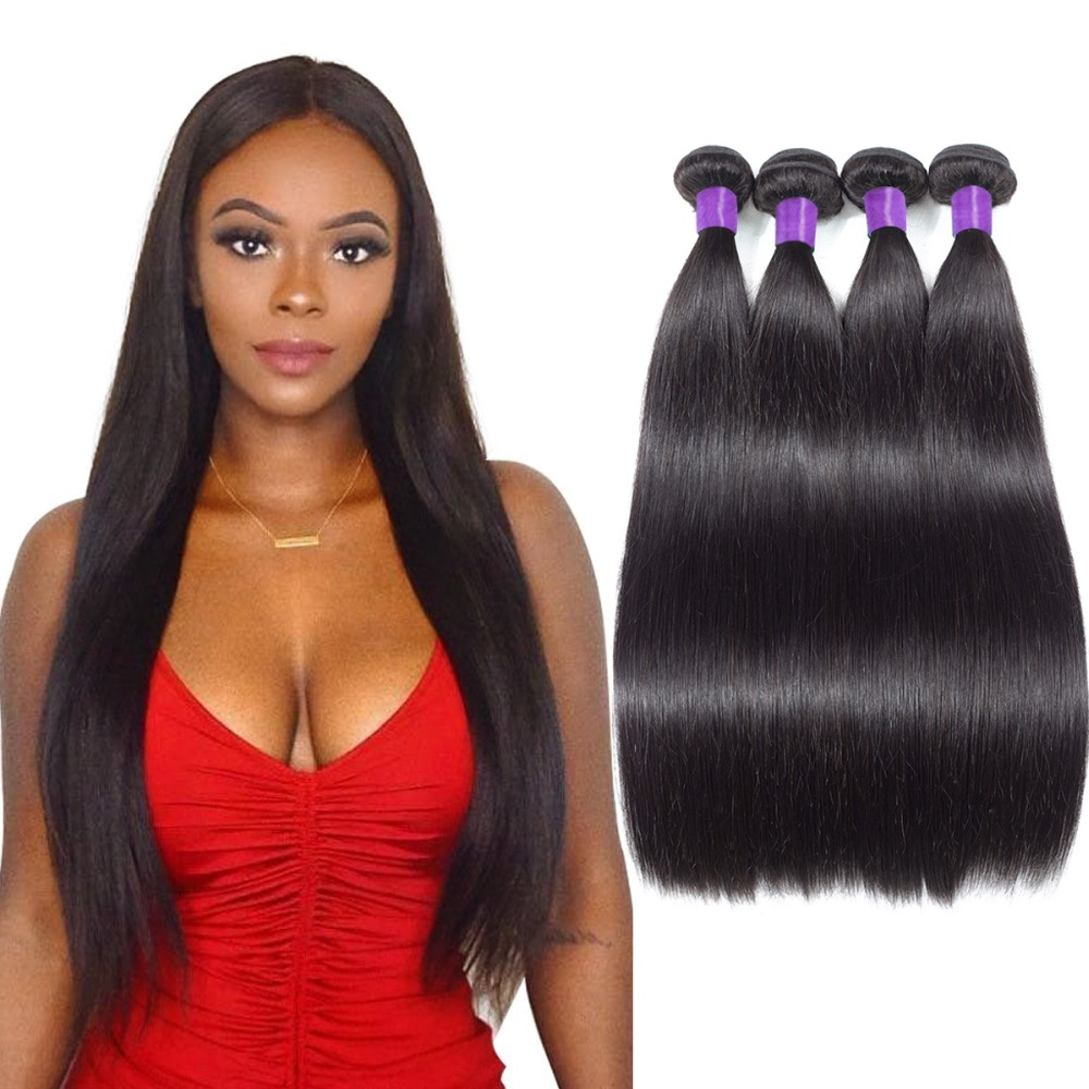 Indian Straight Hair Bundles Double Weft 4 Bundles Deal Human Hair Weave Extensions Natural Color 100% Remy Hair Bundles Piaoyi