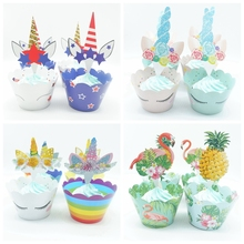 12set pack Cake Decoration Flamingo Pineapple Cupcake Wrappers Cake Topper Summer Party Baby Shower Birthday Party