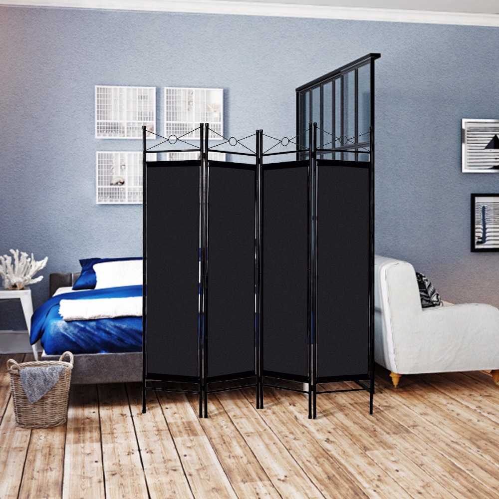 Giantex Folding  4 Panel Room Divider Privacy Screen Home Office Fabric Metal Frame Modern Furniture HW52018