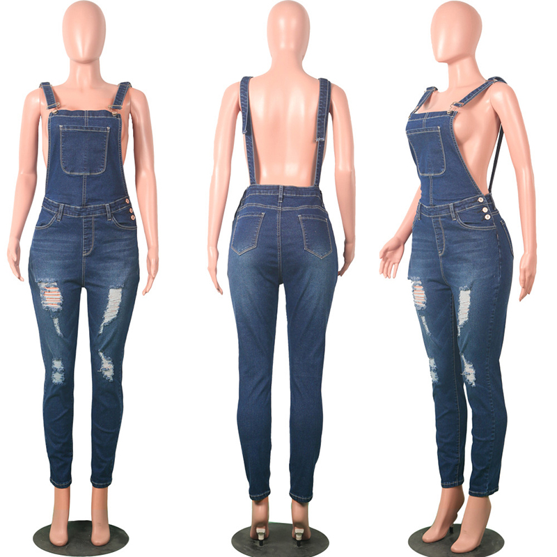 5772cd6e32b6 Women Sexy Stretch Denim Jumpsuit Jeans Ripped Hole Backless Hollow Out  Female Romper Vintage Strap Overalls Boyfriend Jump Suit