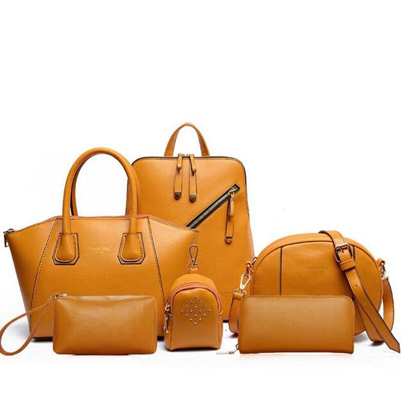 2019 nouveauté 6 Ensemble sacs à main en cuir Femmes serviette de bureau sac composite Femmes sac à bandoulière + sac à main haute couture + Embrayages de Jour + Portefeuille