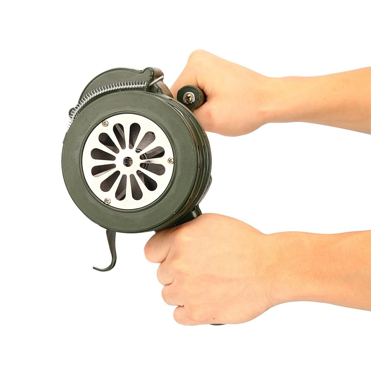 Safurance Green Aluminium alloy Crank Hand Operated Air Raid Emergency Safety Alarm Siren Home Self Protection Security