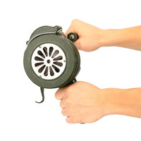 Safurance Green Aluminium Alloy Crank Hand Operated Air Raid Emergency Safety Alarm Siren Home Self Protection