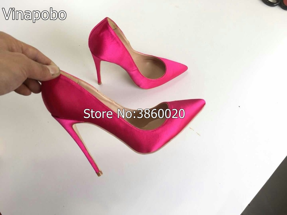 US $34.99 40% OFF Top Quality Woman Hot Pink High Heel Slip on Wedding Shoes Pointed Toe Satin Bride Bridesmaid Evening Party stilettos Heel Pump in