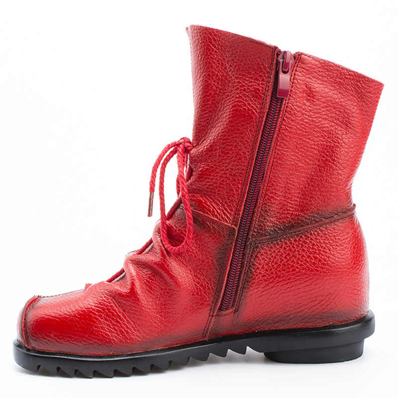LAKESHI 2019 خمر نمط جلد طبيعي المرأة الأحذية المسطحة الجوارب جلد البقر أحذية نسائية الجبهة البريدي حذاء من الجلد zapatos موهير
