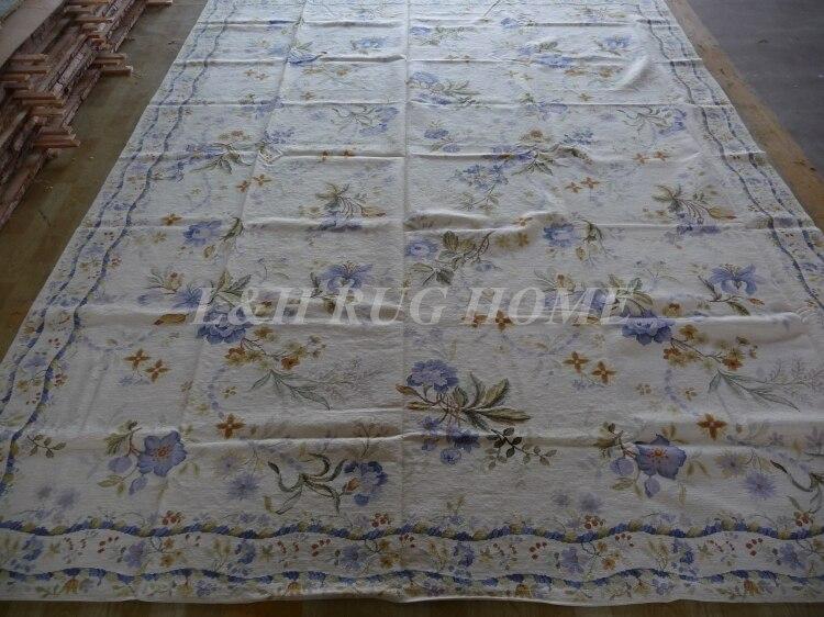 Livraison gratuite 9'x12' tapis en laine fait main, tapis à l'aiguille, 100% laine de nouvelle-zélande bleu floralshigh qualité