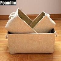 Peandim جديد أسلوب bandbag متفرقات حالة 3 أحجام التخزين المنزل سلة بيج اللون القطن الكتان القماش تخزين مربع التجميل حقيبة