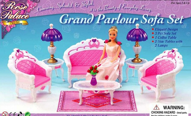 New arrival Christmas/Birthday Reward Kids Play Set Doll Furnishings grand parlour couch set Equipment For Barbie Doll