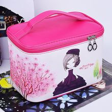 New Arrive Cosmetic Bag Women Necessaire Make Up Bag Travel Waterproof Portable Cartoon scenery Makeup Bag Toiletry Kits(China)