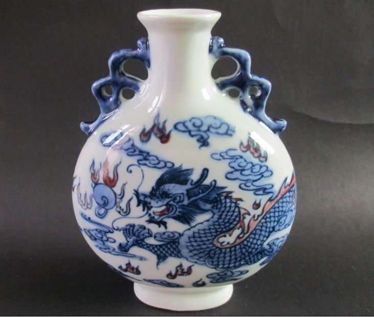 Antique Chinese Blue And White Porcelain Dragon On Both