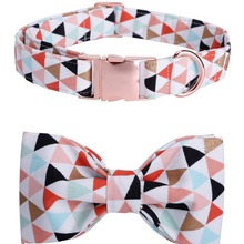 dog collar and leash set with bow tie soft and cotton fabric collar rose gold metal buckle adjustable size pet accessories
