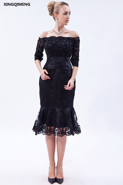 Sexy Short Mermaid Evening Dress Boat Neck Half Sleeve Lace Elegant Evening Dresses Tea Length Women Party Dresses Formal Gown