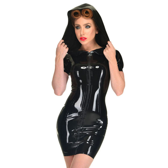 f32c2a62c Faux Leather PVC Wetlook Zipper Dresses Women With Hat Ladies Short Sleeve  hoodie Sexy Bodycon Party