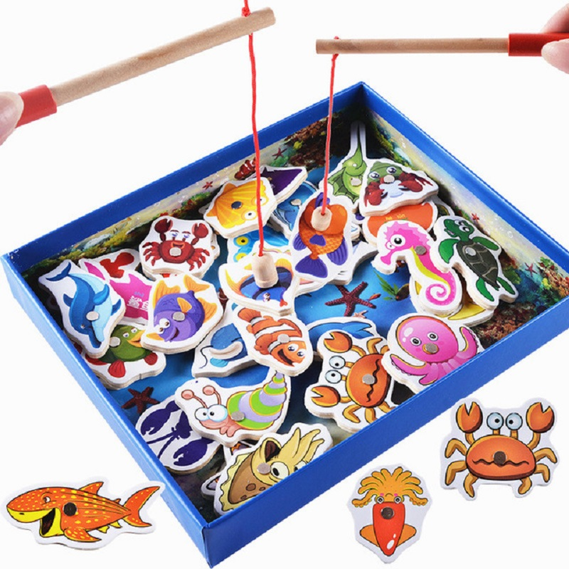 32Pcs Baby Educational Toys Fish Wooden Magnetic Fishing Toy Set Game Educational Toy Birthday Christmas Gifts For Children logwood wooden baby toys wall game music toy model building kits educational toys crocodile game for children