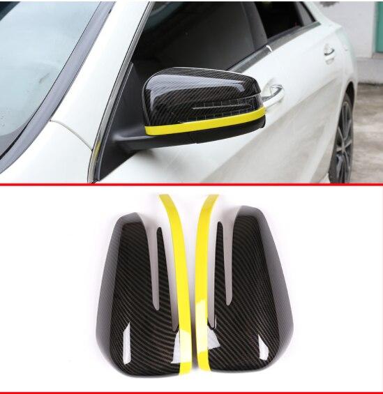 Garniture de couvercle de rétroviseur de porte latérale en Fiber de carbone ABS pour Mercedes Benz A CLA GLA GLK classe W176 W117 X156 X204