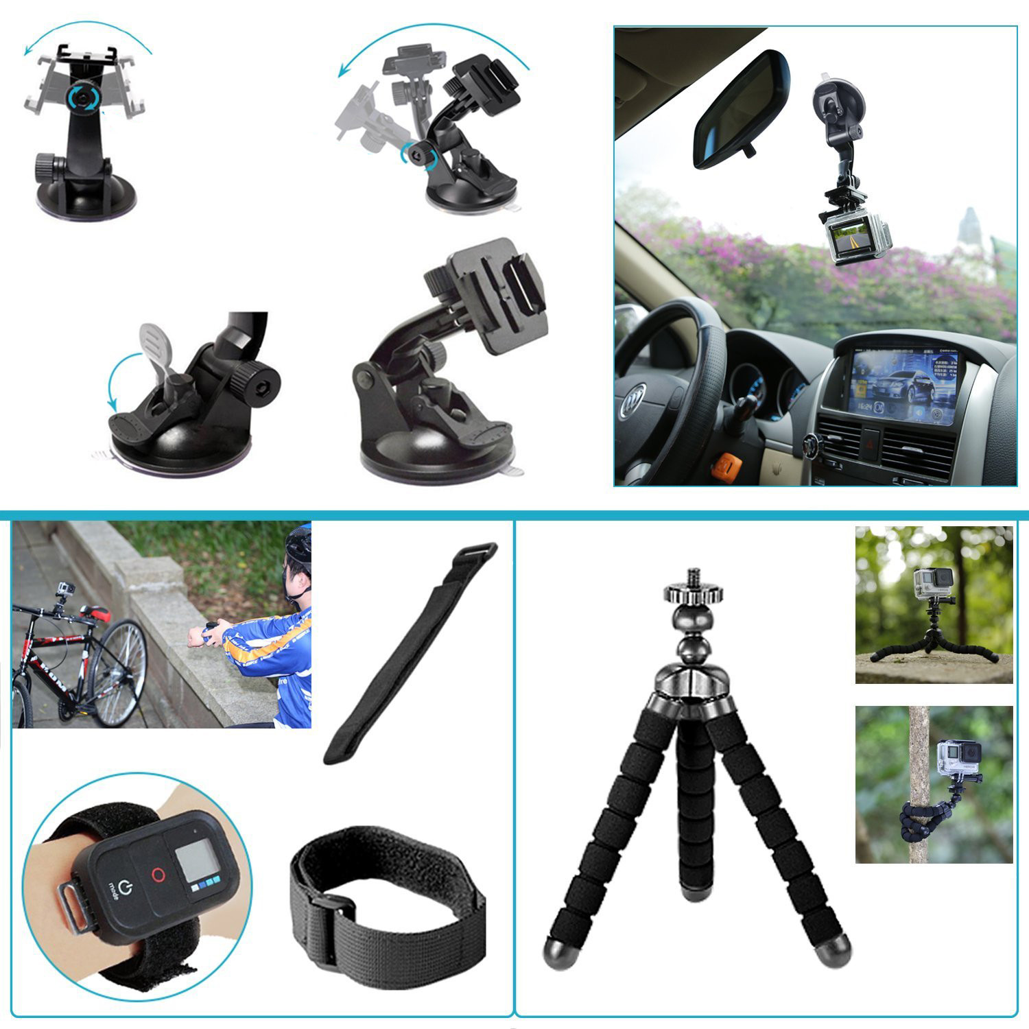 36 In 1 Sport Accessory Kit for GoPro Hero4 Session Hero Series for Xiaomi Yi In Skiing Climbing Bike Camping Diving