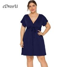 Plus Size 2019 Summer Dark Blue Dress Empire Waist Sexy V Cut Short Sleeves Holiday Beach Cocktail Party Dress LMT-FP3316 все цены