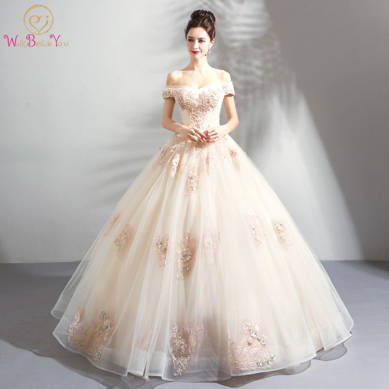Walk Beside You Vestido De Festa Longo Prom Dresses Rochii De Seara Champagne Colorful Ball Gown Appliqued Off Shoulder Evening