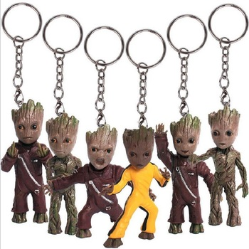 6pcs/lot  Guardians of Galaxy Vol 2 Tree Man Keychain mini Action Figure toy Key Ring Bag Pendant Kids Gifts Party Supplies guardians of the galaxy vol 2 baby groot 3
