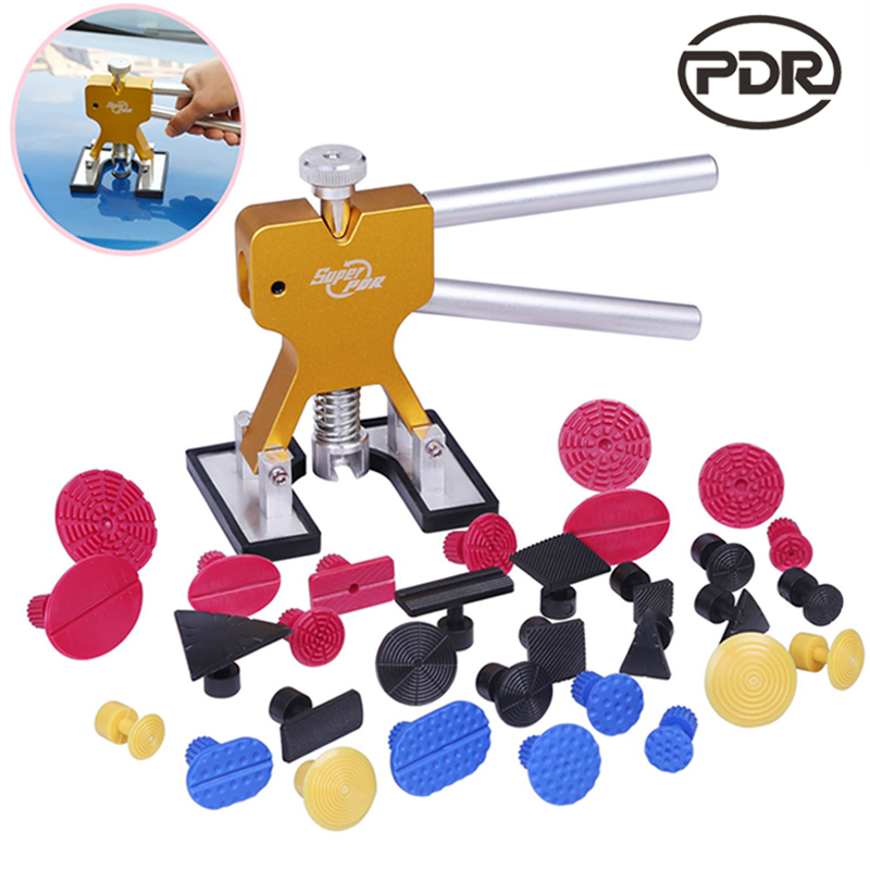 PDR Tools Dent Puller Kit  Paintless Dent Repair Tool To Remove Dents Auto Repair Set Lifter Removal Glue Tabs  Hand Tool Set  super pdr puller handle mini t bar paintless dent repair tool 28pcs glue tabs auto repair tool set herramentas