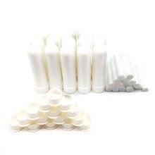 100 sztuk biały pusty inhalator do nosa pusty olej aromaterapeutyczny inhalator do nosa rury kompletne kije z rdzeniem bawełnianym
