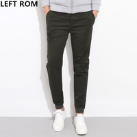 LEFT ROM 2018 Male Brand Autumn Stretch Pure Color Small Haren Casual Pants Men S Fashion