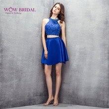 f6d6c3e40 Wowbridal Azul Corto de Fiesta Vestidos 2016 Nueva Backless de Secundaria  de octavo Grado Vestidos de