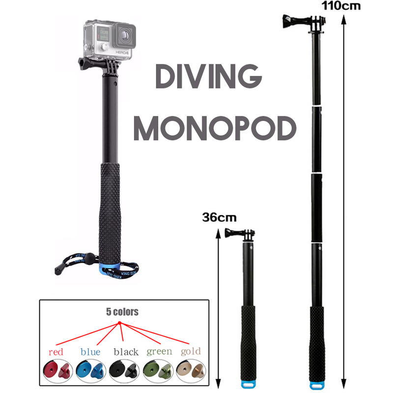 Extendable handhead gopro monopod mount adapter for gopro HERO5 hero 5 3 4 SJCAM sj4000 sj6000 xiaomi yi action camera accessory