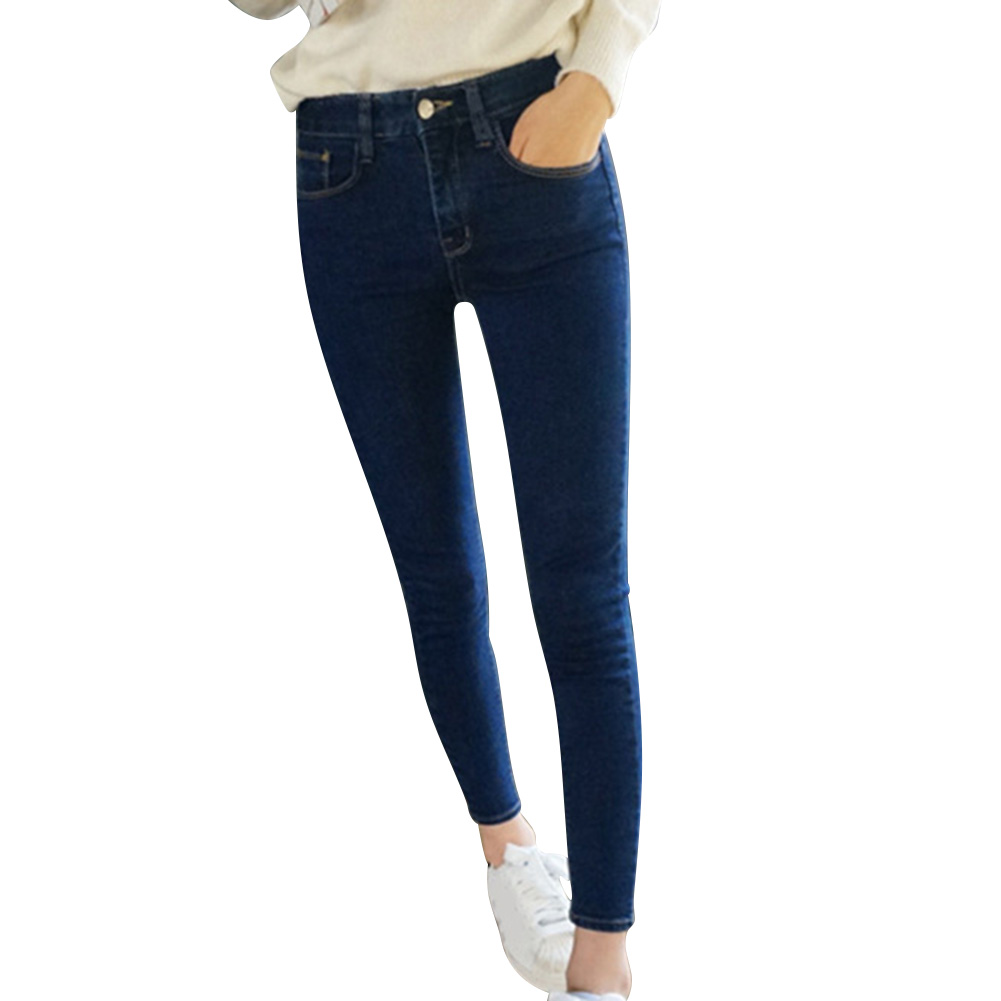 Womem Jeans Solid Color Slim Fit Elastic Casual Pencil Jeans JL