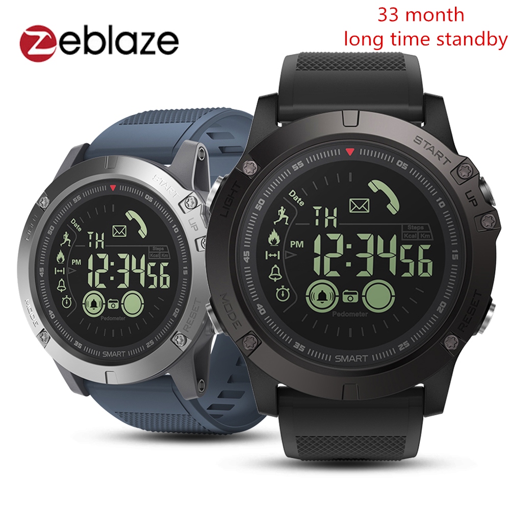Zeblaze VIBE 3 Flagship Rugged Smartwatch 33-Month Standby Time 24h All-Weather Monitoring Sport Smart Watch Men For IOS Android g6 tactical smartwatch