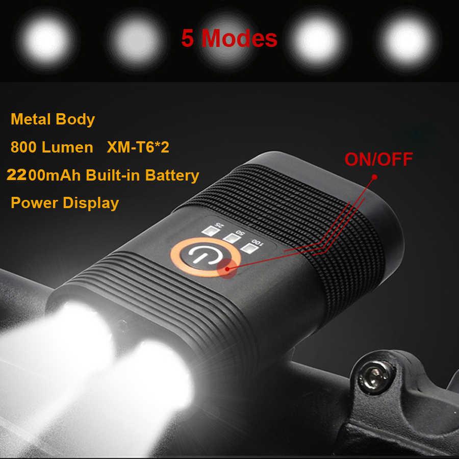 NEWBOLER 2200 мА/ч, 800 Люмен USB фонарик для велосипеда двойной T6 светодиодный фонарь для езды на велосипеде Водонепроницаемый фонарик для велосипеда лампы
