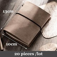 20 pieces per lot 100% genuine leather natural leather grey color travel notebook  journal planner diary small book size 13x10cm