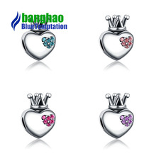 Alloy large hole beads heart - shaped crown crystal DIY bracelet accessories CTB600