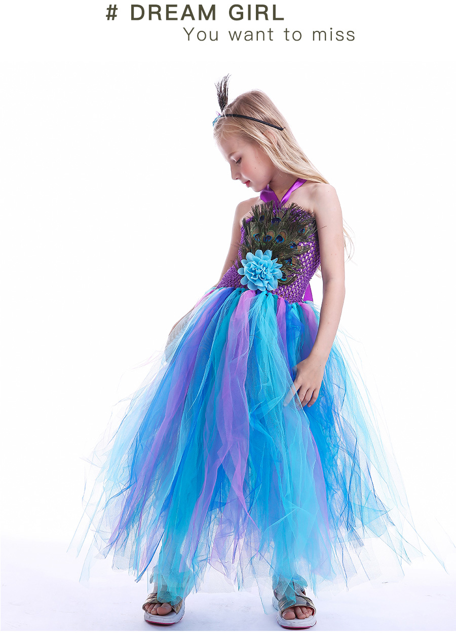 Peacock Feather Girl Tutu Dress Baby Peacock Dress with Hair Accessories  Halloween Pageant Wedding Glam Costume Party Outfit (11)