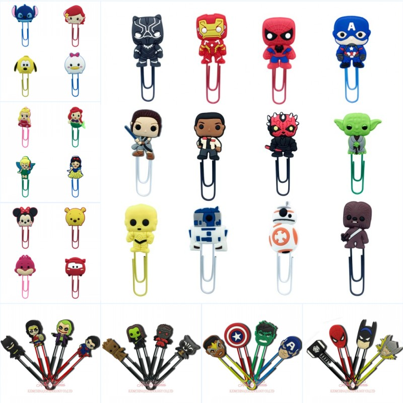4-12pcs Avenger Bookmarks For Books Superhero Star Wars Paper Clips School Office Supplies Page Holder For Students Kids Gift