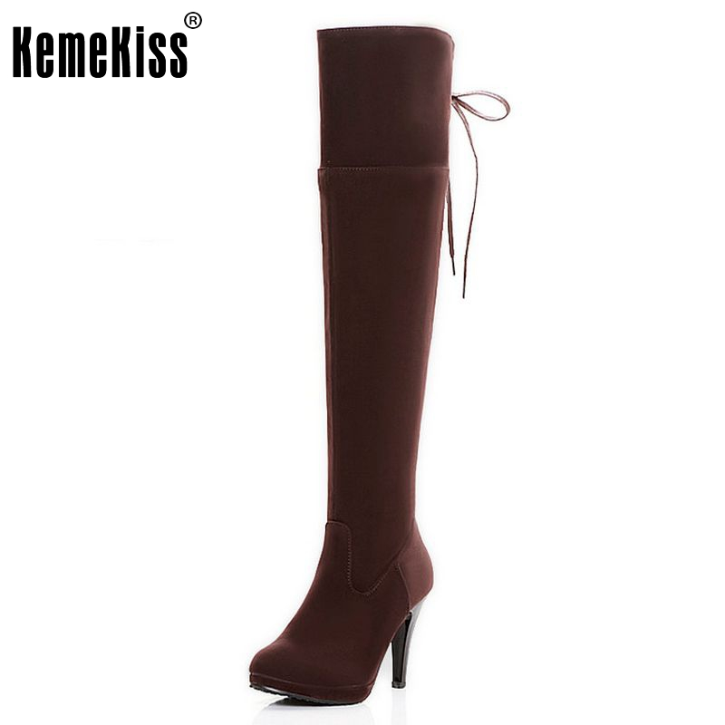 Free shipping over knee high heel boots women snow fashion winter warm footwear shoes boot  P15018 EUR size 34-47 free shipping candy color women garden shoes breathable women beach shoes hsa21