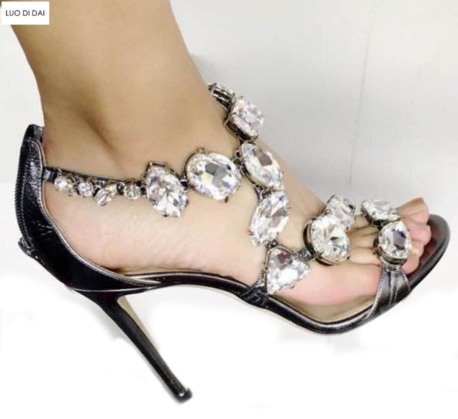 Fino Mujeres Boda Abierta Heel Cristalinas Bombas Talón 10cm Glitter Cm Sandalias Zapatos Punta 10 Rhinestone 2018 De Diamantes 7HwqRwnFd