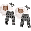 0-18months 3pcs Baby Girl Clothes Set Baby headband Tops+tassel bodysuit +pants Summer Outfits Set Sunsuit Costume