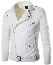 2015 mode stehen kragen motorrad lederbekleidung männer lederjacke männlich oberbekleidung Weiß Leder und Wildleder M-XXL