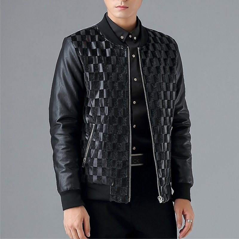 MYAZHOU Spring Autumn Mens Thin Leather Jacket men , Fashion Collar Slim full Mens black Jackets male