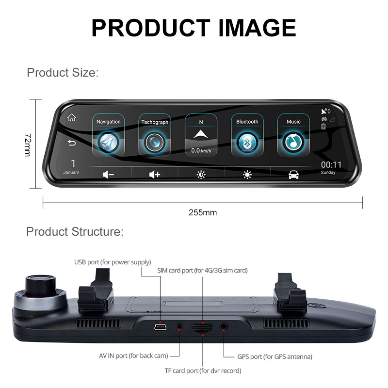 ANSTAR Special Bracket H58 10'' HD 1080P DVR 4G Android  GPS Wifi Rearview Mirror Auto Camera Dash Cam Night Vision Registrar
