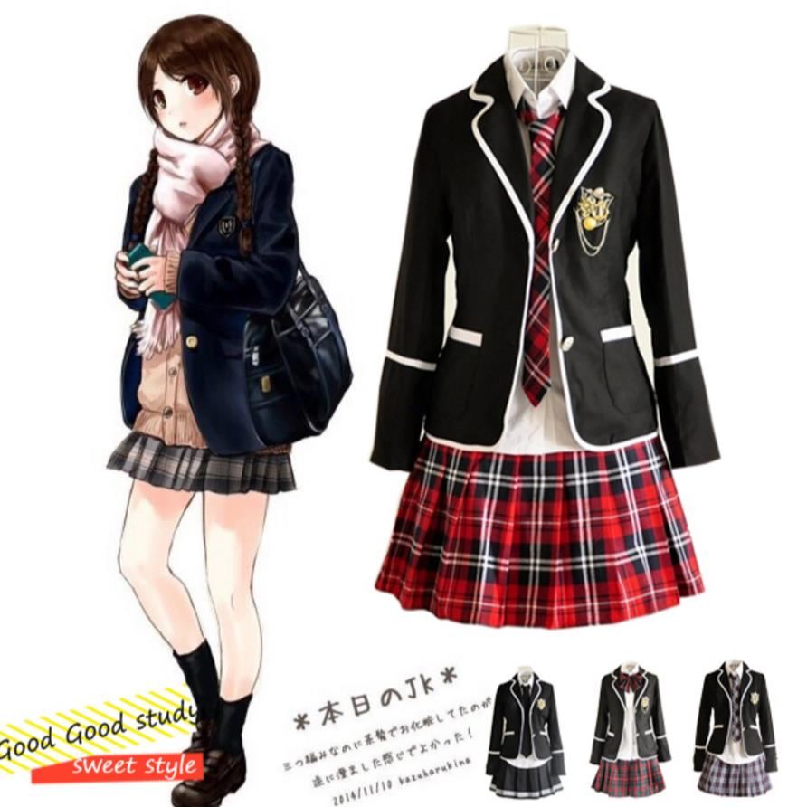 Japanese Girl School Uniform Cosplay Costume Long-sleeve JK uniform sexy clothing Black Red Plaid Skirt Tops Coat Sets