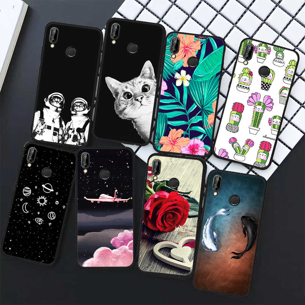 TPU Phone Case For Huawei Y9 2018 P20 Lite Mate 10 Pro P10 P8 P9 Lite 2017 Flowers Animals Patterned Cover Shell Coque